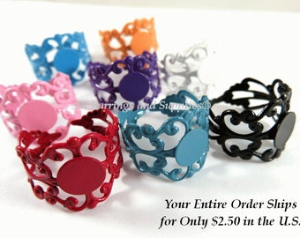 8 Filigree Ring Blank Base Copper Assorted Colors 8mm Pad - 8 pc - R8001-AS8