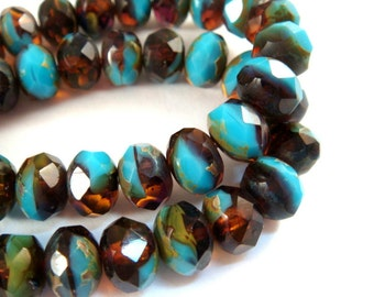 10 Blue Amber Czech Bead Picasso Czech Fire Polished Faceted Glass Rondelle Beads 8x6mm - 10 pc - G6041-FBA10