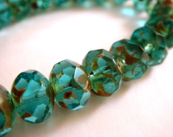 10 Aqua Picasso Czech Fire Polished Faceted Abacus Rondelle Glass Beads 8x6mm - 10 pc - G6041-AP10