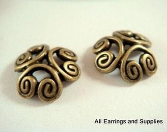 10 Bronze Bead Caps Flower Antique Tibetan Silver 12-13mm - 10 pc - F4110BC-AB10