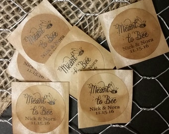 "Meant to Bee SMALL 1"" STICKER Personalized Wedding Engagement Shower Favor STICKER choose your amount"