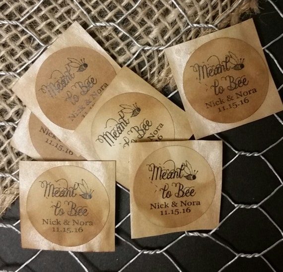 """Meant to Bee SMALL 1"""" STICKER Personalized Wedding Engagement Shower Favor STICKER choose your amount"""
