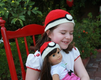 Crochet Doll Hat and crochet hall for girl Pokemon Ball Hat Fits 18 inch doll and six year old girl