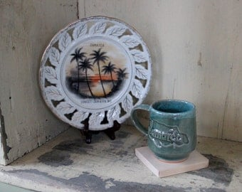 Jamaica Souvenir Plate ~ Sunset ~ Jamaica W.I. ~ West Indies ~ Handpainted ~ White and Gold and Swaying Palm Trees ~ Gold Highlights
