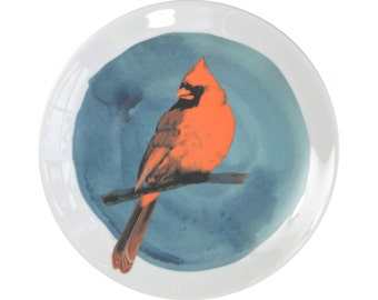 Porcelain wall plate with the bird illustration - Cardinal- made to order