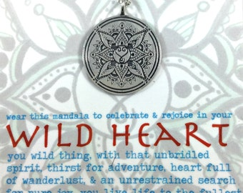 SPECIAL INTRODUCTORY PRICING Wild Heart Mandala Pendant Boho Yoga Lifestyle Festival Jewelry Hand drawn and solid sterling silver pendant