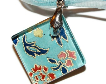 """Glass Tile Pendant - Blue and Gold Chiyogami Glass Diamond Pendant with Light Blue Ribbon Necklace 18"""", Floral Gold and Teal Pendant"""