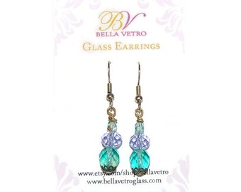 Teal with Purple Bead Gold Beaded Earring