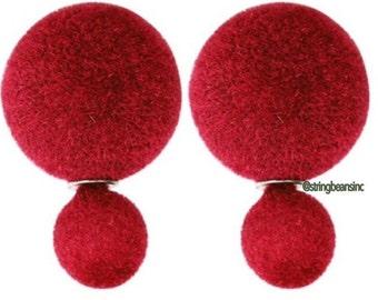Double Sided Earrings Fresh Red Velvet