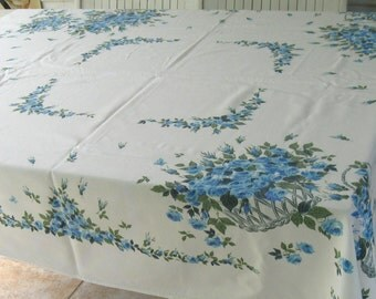 turquoise rose tablecloth . 50s tablecloth . retro rose tablecloth . turquoise rose . retro tablecloth