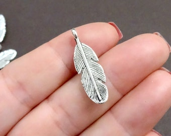10, Feather Bird Charms (double sided) 9x30mm