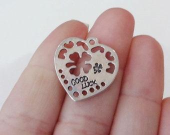 "10 Heart ""GOOD LUCK"" Clover Charms 22.5x22x1mm, Hole: 2mm"