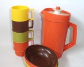 Vintage Tuppertoy Tupperware Cups Mugs Bowls with Lids, Pitcher Children's Kitchen Playset