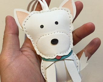 Big size - Pipi the Westie cowhide leather charm ( White )