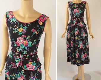 Vintage 1990s Sundress Floral with Peplum by Lanz Sz 4 B34 W25