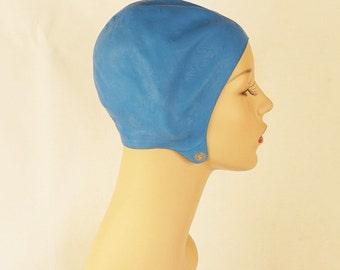 Vintage 1950s Sky Blue Rubber Swim Cap Bathing Cap