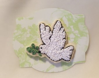 Handmade Embroidered French Knots Peace Dove Pin Embroidery Bird