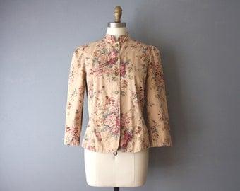 vintage 90s floral jacket / military style jacket / romantic floral denim jacket / medium