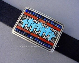 Southwest Style Cross Mosaic Belt Buckle with Leather Belt handmade by Crooked Moon Mosaic Studio