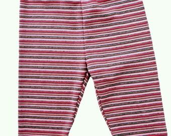 Leggings, Baby Girl Leggings, Infant Leggings, Baby girl Pants, Stripe Leggings, Pink Leggings 3 Months, 9 Months Lillagrey