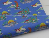 4126 - Cath Kidston Dino Kids (Blue) Cotton Canvas Fabric - 57 Inch (Width) x 1/2 Yard (Length)