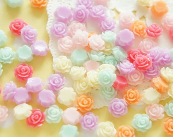 Assorted 24 pcs Teeny Nail Size Rose Cabochon (8mm) FL445