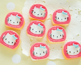 8 pcs Kitty Face Rolled Cake Cabochon (17mm20mm) CD636