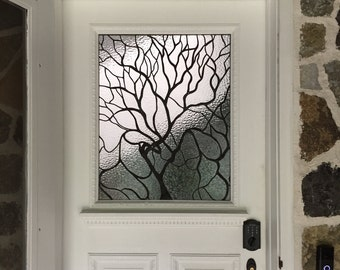 Stained Glass Door Window - Lead Tree (W-123)