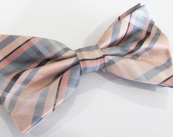 Mens Bowtie. Peach Silver Gray Plaid Bowtie With Matching Pocket Square Option