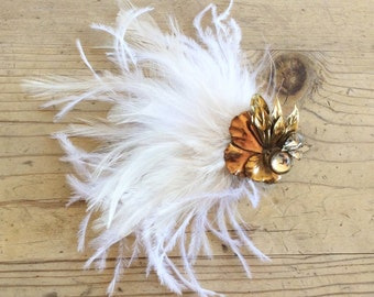 Old Hollywood Vintage Feather Hair Fascinator, Art Deco, Clip, Rhinestone, 20s, Gatsby, Wedding, Bridal, Wedding, Ivory, White