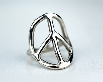 Peace Sign Ring Sterling Silver