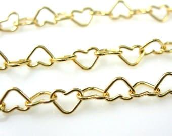 Gold Chain, Gold Plated Chain, Vermeil Sterling Silver Heart Chain, Wholesale Bulk Chain-Heart Shape -5mm (10 Feet - 10% off ) SKU:101037-VM