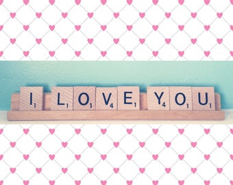 I Love You Valentine's Engagement Wedding Gift Surprise Scrabble Tiles Upcycled Sign
