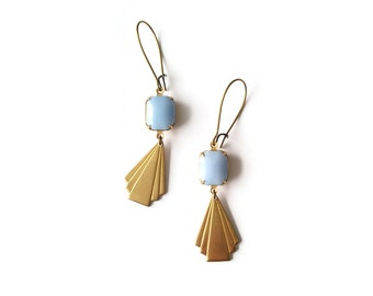Art Deco Style Earrings - Pale Blue - Geometric Earrings - Pastel Earrings - Dune in periwinkle (SD1128)