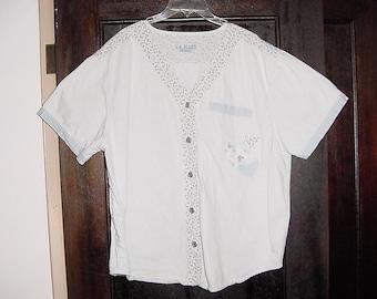 Vintage 80s Ladies Acid Wash Denim Shirt Plus 22 / 24 Short Sleeve
