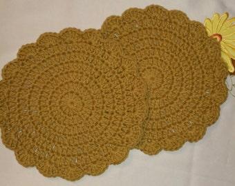 Crochet Cotton Dish Cloth/Wash Cloth/Trivet/Hot Pad set of 2 Amber