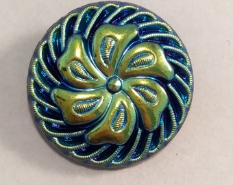 Vintage Carnival Glass Iridescent Blue Gold Luster Flower Pinwheel Swirl Button