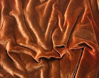 DUSTY ORANGE - Hand Dyed Burnout Silk Velvet 1 Yard