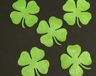 Bright Green Supple Lambskin Leather 4 LEAF CLOVERS SHAMROCKS 5 Pieces