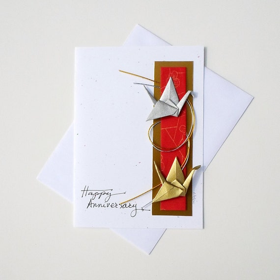 Handmade anniversary cardsorigami card birthdaygreetings