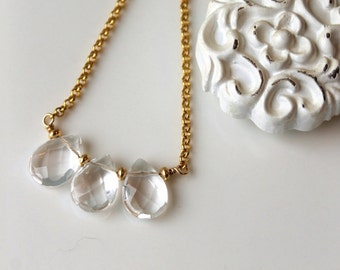 Crystal Trio necklace, Vermeil and Gold Filled necklace, Rock Crystal Teardrop, crystal clear, artisan made