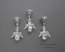 Guardian Angel CrystalAB Czech Beaded Large Hole European Style Dangel Bead Charm 3pc.