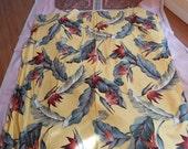 Barkcloth  fabric, Hawaiian Print, two Pieces, bird of paradise