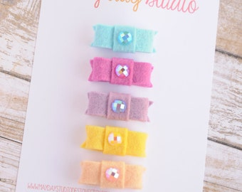 newborn baby girls bitty hair clips collection - girly pastel felt snap clips set, blue fuchsia lavender yellow peach baby hair clips