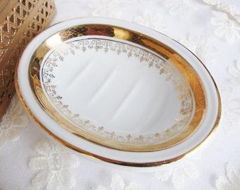 vintage soap dish andre richard japan porcelain white and gold