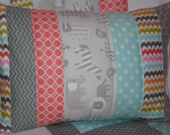 Zoo Animal Quilted Pillow Cover 12x16 Inches - Coral, Gray, Aqua, Polka Dots, Zig Zags, Baby Nursery