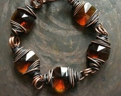 Wire Wrap Crystal Bracelet Vintage Prism Jewelry Crystal Bracelet DanielleRoseBean Rustic Jewelry