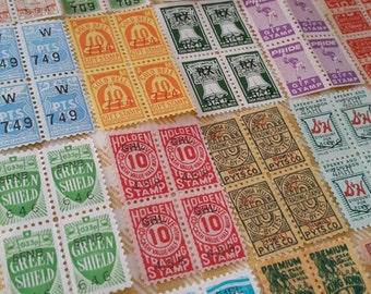 100 vintage trading saver thrift stamps - blocks of 4 - 25 different