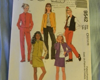 McCall's Girls Jacket, Vest, Pull on Pants and Skirt Pattern #9542 Uncut