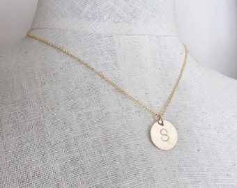 Hammered Gold Initial Necklace | 1, 2, or 3 14K Gold Filled Charm Jewelry | Hand Stamped Engraved Gold Letters by E. Ria Designs